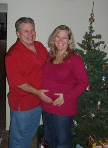 My FAVE Christmas photo, with Baby Girl in the tummy. :-)